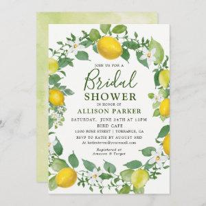 Citrus Watercolor Lemon Wreath Bridal Shower Invitation starting at 2.61