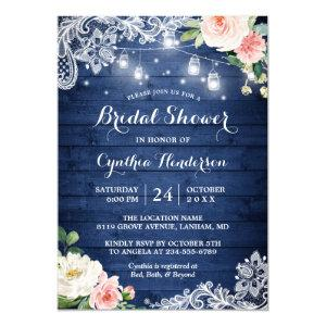 Classic Blue Mason Jar Lights Floral Bridal Shower Invitation starting at 2.40
