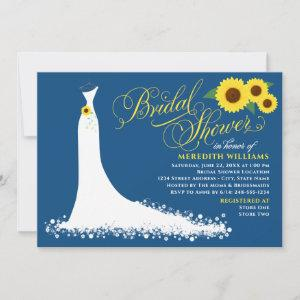 Classic Blue Sunflower Wedding Gown Bridal Shower Invitation starting at 2.51