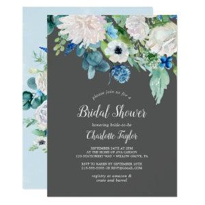 Classic White Flowers | Grey Bridal Shower Invitation starting at 2.26