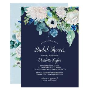 Classic White Flowers | Navy Bridal Shower Invitation starting at 2.26