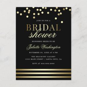 Classy Black Trendy Confetti Glossy Bridal Shower Invitation Postcard starting at 1.70