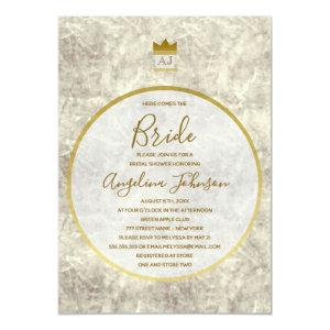 Classy Monogram Marble and Gold Bridal Shower Invitation starting at 2.51