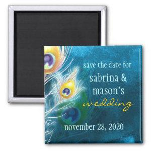 Classy Peacock Blue Wedding Save the Date Magnet starting at 3.95