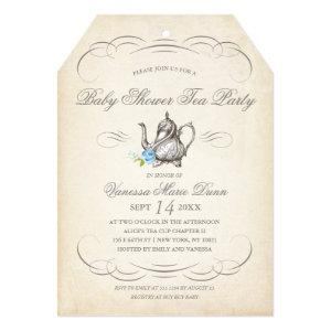 Classy Vintage Tea Party Blue | Baby Shower Invitation starting at 2.65