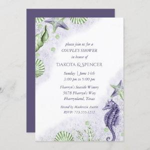 Coastal Chic | Purple and Green Couple Shower Invitation starting at 2.40