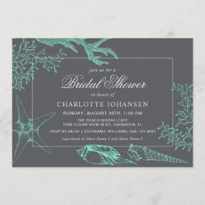 Coastal Sea Coral Nautical Theme Bridal Shower Invitation starting at 2.51