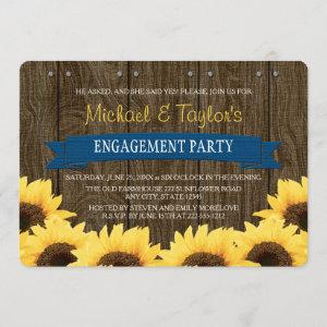 COBALT BLUE RUSTIC SUNFLOWER ENGAGEMENT PARTY INVITATION starting at 3.02