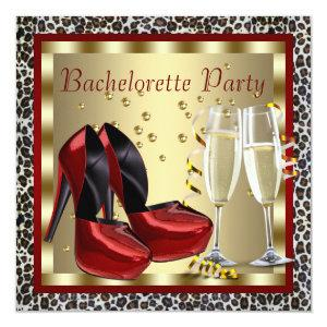 Cocktails Red High Heel Shoes Leopard Bachelorette Invitation starting at 2.67