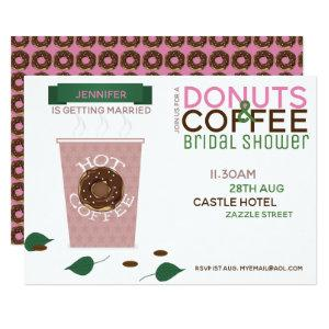 COFFEE DONUTS Bridal Shower Invitation Pink Green starting at 2.51