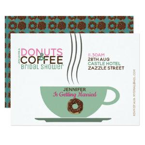 COFFEE DONUTS Bridal Shower Invitation Pink Turq starting at 2.51