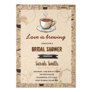 Coffee theme bridal shower invitation starting at 2.50