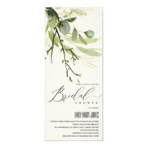 COOL LEAFY GREEN FOLIAGE WATERCOLOR BRIDAL SHOWER INVITATION starting at 2.65