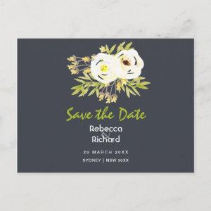 COOL WHITE & YELLOW FLORAL Save the date Announcement Postcard starting at 2.02