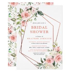 Copper Geometric Peach Pink Floral Bridal Shower Invitation starting at 2.15