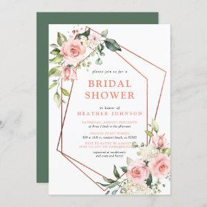 Copper Geometric Pink Floral Eucalyptus Shower Invitation starting at 2.40
