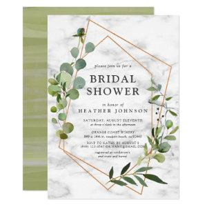 Copper Marble Geometric Eucalyptus Bridal Shower Invitation starting at 2.40