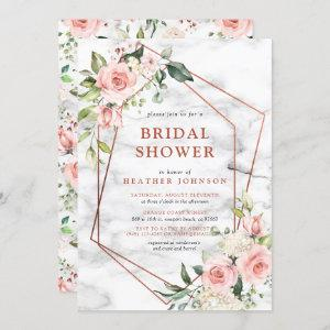 Copper Marble Geometric Pink Floral Bridal Shower Invitation starting at 2.40