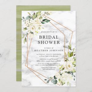 Copper Marble Geometric White Floral Bridal Shower Invitation starting at 2.40