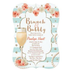 Coral and Aqua Brunch and Bubbly Bridal Shower Invitation starting at 2.91