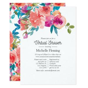 Coral and Fandango Floral Virtual Shower Invitation starting at 2.66