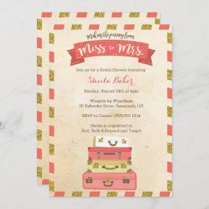 Coral and Gold Travel-Themed Shower Invitations starting at 2.66