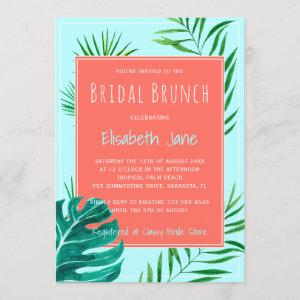 Coral and Mint Blue Tropical Leaves Bridal Brunch Invitation starting at 2.45