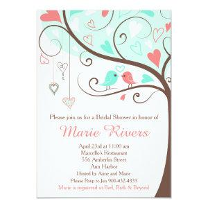 Coral and Mint Floral Bird Bridal Shower Invitation starting at 2.66