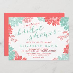 Coral and Mint Floral Surprise Bridal Shower Invitation starting at 2.66