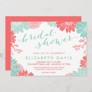 Coral and Mint Modern Floral Bridal Shower Invitation starting at 2.66