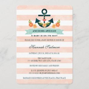 Coral and Navy Nautical Anchor Baby Shower Invitation starting at 2.86
