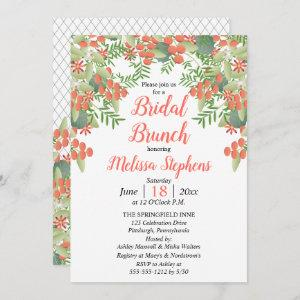 Coral Berries | Leaves Floral Bridal Shower Invitation starting at 2.51