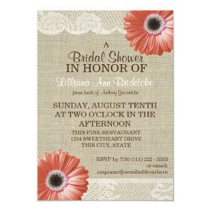 Coral Daisy and Lace Bridal Shower Invitation starting at 3.30