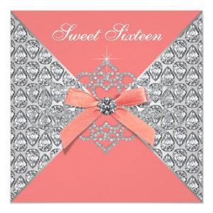 Coral Diamonds Coral Sweet 16 Birthday Party Invitation starting at 2.40