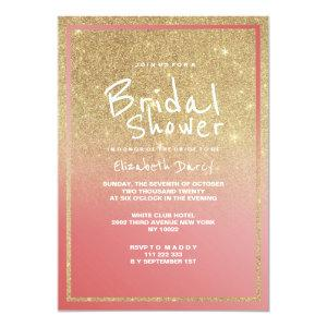 Coral faux gold ombre glitter modern Bridal Shower Invitation starting at 2.51