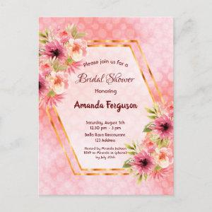 Coral geometric watercolored floral bridal shower postcard starting at 1.20