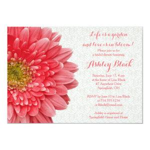 Coral Gerber Daisy Lace Bridal Shower Invitation starting at 2.66