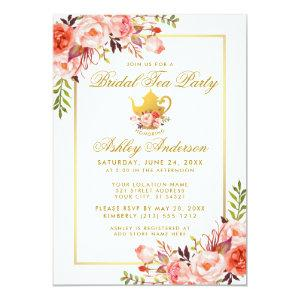 Coral Gold Floral Bridal Shower Tea Party Invite starting at 2.51