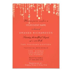 Coral Gold Glitter Drips Birthday Bridal Shower Invitation starting at 2.10