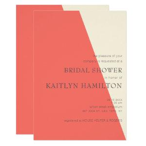 Coral Ivory Geometric Elegance Wedding Shower Invitation starting at 2.25
