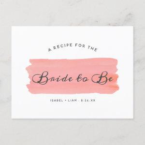 Coral Kiss Ombre Watercolor Bridal Shower Recipe Announcement Postcard starting at 1.70