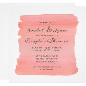 Coral Kiss Ombre Watercolor Brush Couple's Shower Invitation starting at 2.30