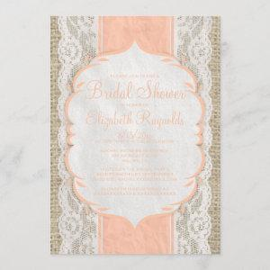 Coral Linen Burlap Lace Bridal Shower starting at 2.66