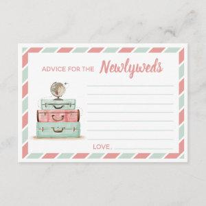 Coral mint advice for the newlyweds travel theme enclosure card starting at 2.01