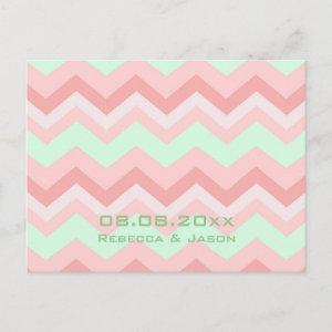 coral mint chevron wedding save the date announcement postcard starting at 2.02