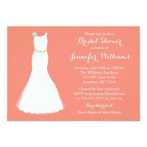 Coral Mint Floral Wedding Gown Bridal Shower Invitation starting at 2.51