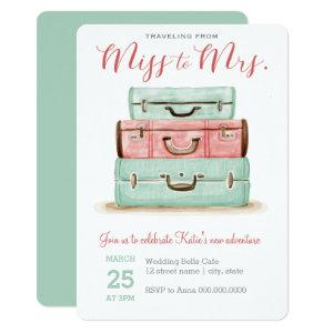 Coral Mint Miss to Mrs. Travel Shower Invitation starting at 2.86