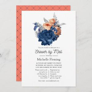 Coral, Navy and Silver Floral Shower by Mail Invitation starting at 2.51