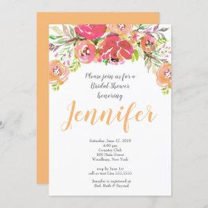 Coral & Peach floral Bridal Shower Invitation starting at 2.45