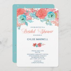 Coral Pink and Aqua Floral Bridal Shower Invite starting at 2.71